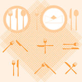 Plate orange color icons with fork and knife sign Royalty Free Stock Photo