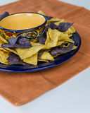 Plate of organic nacho corn chips Stock Photo