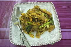 Pad See Ew (Thai Noodles). A plate of Pad See Ew, a popular Thai noodle dish Royalty Free Stock Images