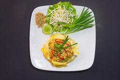 Plate of Pad Thai or phat Thai in omelette Royalty Free Stock Photo