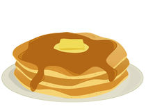 Plate of pancakes. Three pancakes covered in syrup and butter stacked on a plate all on a white background Stock Photos