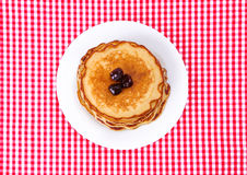 Plate with pancakes Royalty Free Stock Image