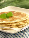 Plate with pancakes, closeup Royalty Free Stock Photos