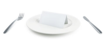 Plate with paper card on it Stock Photography