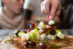 Plate with party snacks Stock Images