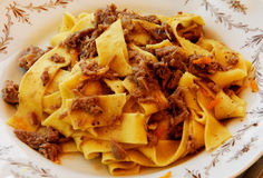 Plate of pasta. A plate of pasta served in the Italian Umbria region Royalty Free Stock Photo