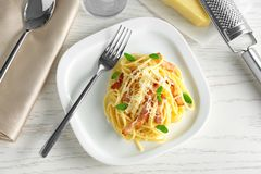 Plate of pasta carbonara with bacon Royalty Free Stock Image
