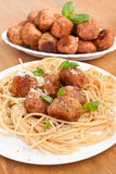 Plate of Pasta with Classic Meatballs Royalty Free Stock Photo