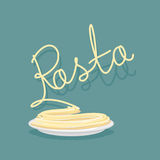 Plate of pasta. A dish of Spaghetti.  Vector illustration. Royalty Free Stock Image