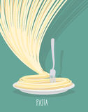 Plate of pasta. A dish of Spaghetti.  Vector illustration. Royalty Free Stock Photo