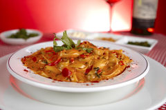 Plate of pasta at an Italian Restaurant Royalty Free Stock Photography