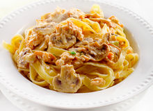 Plate of pasta with mushrooms and cream sauce. Stock Images