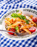 Plate with pasta pene Bolognese sauce cherry tomatoes parsley top and basil leaves on checkered blue tablecloth. Stock Photo