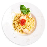 Plate of pasta with Salmon. Plate of delicious pasta. View from above Royalty Free Stock Photography