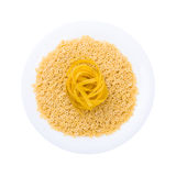 Plate of pasta seen from above isolated on white Royalty Free Stock Photos