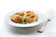 Plate of pasta with shrimps Stock Image