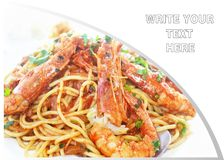 Plate with pasta and shrimps - mediterranean seafood - restaurant menu Royalty Free Stock Photos