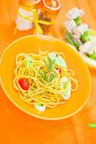 Plate of pasta on the table Royalty Free Stock Image