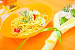Plate of pasta on the table Royalty Free Stock Images