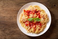 Plate of pasta with tomato sauce, top view stock photos