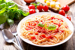 Plate of pasta with tomato sauce Royalty Free Stock Image