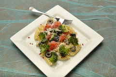 A plate of pasta and vegetables. Royalty Free Stock Photos