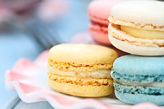 Plate of Pastel Colored Macarons Stock Image
