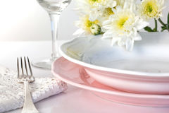 Plate and pastel flowers Stock Photography