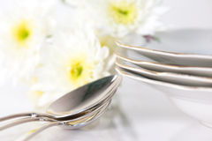 Plate and pastel flowers Royalty Free Stock Image