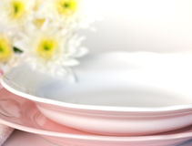 Plate and pastel flowers Stock Photo