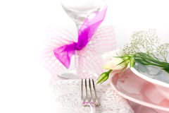 Plate and pastel flowers Royalty Free Stock Photo