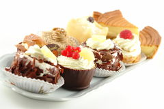 Plate of pastries stock images
