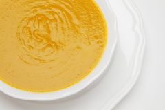 Plate of pea cream soup Royalty Free Stock Photography
