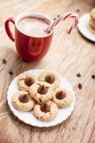 Plate of peanut blossom cookies on weathered brown wood top view. Plate of snickerdoodle cookies, hot chocolate, peppermint candy cane, and chocolate peanut Royalty Free Stock Photos
