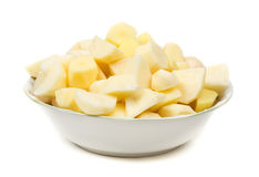 Plate of peeled potatoes Royalty Free Stock Photo