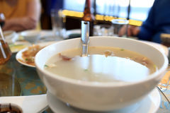 Plate of peking duck broth Royalty Free Stock Photo