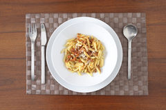 Plate of penne with meat sauce Stock Image