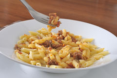 Plate of penne with meat sauce Stock Photo