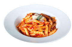 Plate of penne pasta Stock Photo