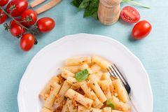 Plate of penne pasta with bread crumbs, basil and Royalty Free Stock Photo
