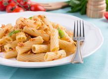 Plate of penne pasta with bread crumbs, basil and Royalty Free Stock Photos