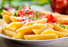 Plate of penne pasta royalty free stock photos