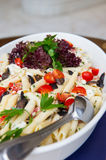 Plate of penne pasta. With vegetable,olive and cheese Royalty Free Stock Photos
