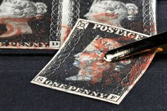 Penny Black. Plate 8 Penny Black with red Maltese cross and blue Handsworth PYP Box cancellation. It is the world`s first adhesive postage stamp royalty free stock photos