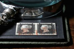 Penny Black. Plate 8 Penny Black with red Maltese cross and blue Handsworth PYP Box cancellation. It is the world`s first adhesive postage stamp royalty free stock images