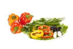 A plate of pepper, onion, feta, lettuce Stock Photos