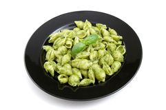 Plate of pesto pasta Royalty Free Stock Images