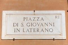 Plate Piazza San Giovanni in Laterano Roma Italy Targa Royalty Free Stock Photos