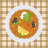 A plate of pickle soup on the table with a tablecloth. A plate of pickle soup with vegetables on the table with a colorful tablecloth vector illustration