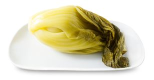 Plate of A Pickled Green Chinese Cabbage Royalty Free Stock Photography